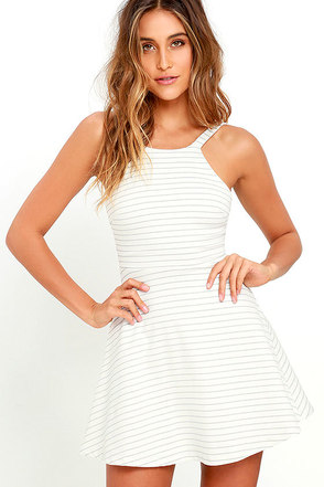 Shortlist Black and Ivory Striped Skater Dress at Lulus.com!