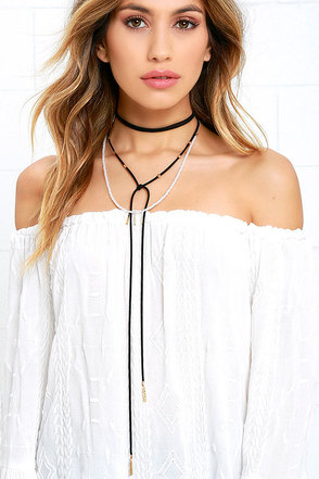 Wrap Battle Ivory and Black Layered Necklace at Lulus.com!