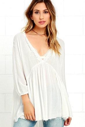 Wonderfully Windswept Ivory Lace Top at Lulus.com!