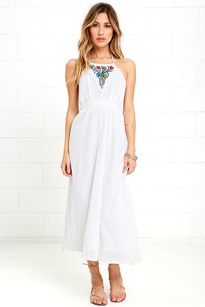 Raga Make It Reign Ivory Embroidered Halter Dress at Lulus.com!