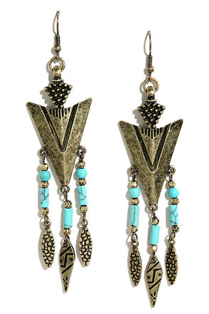 Rocky Range Turquoise and Gold Earrings at Lulus.com!