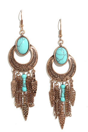 Arrowhead Canyon Bronze and Turquoise Earrings at Lulus.com!