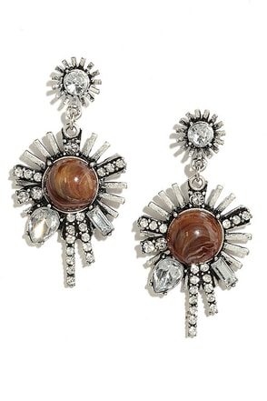 Keep on Keepin' On Brown and Silver Earrings at Lulus.com!