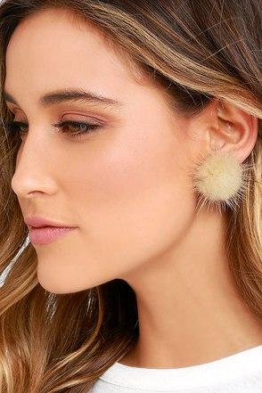Power Fluff Beige Fur Earrings at Lulus.com!