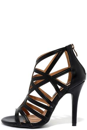So Fine Black Caged Heels at Lulus.com!