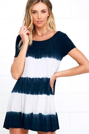 Bae Breeze Navy Blue Tie-Dye Dress at Lulus.com!