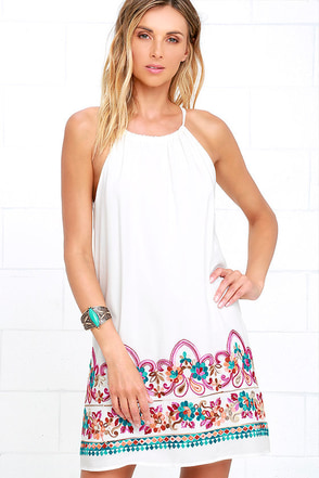 Cathedral Ivory Embroidered Shift Dress at Lulus.com!