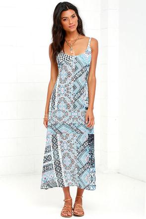 Somedays Lovin' Northern Side Light Blue Print Maxi Dress at Lulus.com!