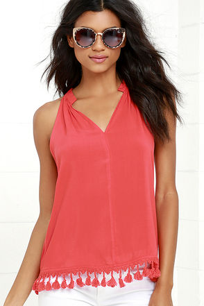 Cheer to Stay Coral Pink Sleeveless Top at Lulus.com!