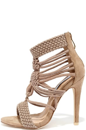 Knot Sorry Nude Suede Heels at Lulus.com!