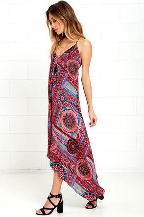 Sound of Silence Fuchsia Print Midi Dress at Lulus.com!