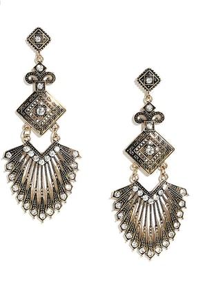 Fan Art Gold Rhinestone Earrings at Lulus.com!