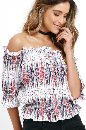 I. Madeline Fiesta Flair Ivory Print Off-the-Shoulder Top at Lulus.com!