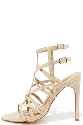 I Decided Nude Suede Caged Heels at Lulus.com!