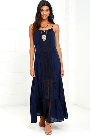 Through the Mist Navy Blue Lace Maxi Dress at Lulus.com!