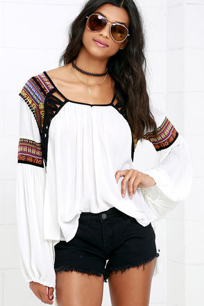 Friendship Bracelet Ivory Embroidered Long Sleeve Top at Lulus.com!