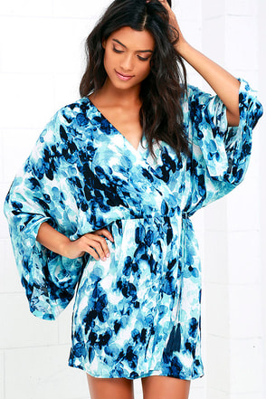 Monet Blue Print Wrap Dress at Lulus.com!