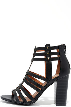 Take a Stand Black Studded Caged Heels at Lulus.com!