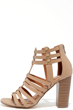 Take a Stand Natural Studded Caged Heels at Lulus.com!