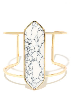 Artistry Gold and White Cuff Bracelet at Lulus.com!
