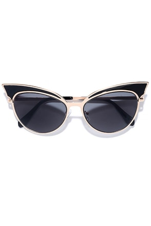 Future of Fashion Gold and Black Cat-Eye Sunglasses at Lulus.com!
