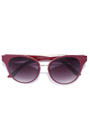 In the Moment Burgundy Sunglasses at Lulus.com!