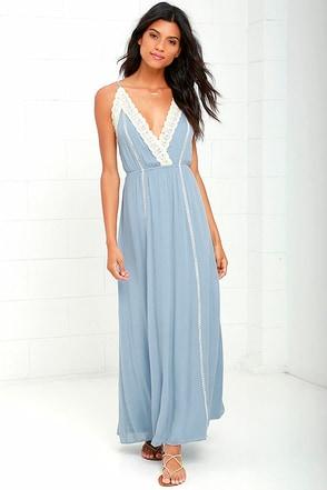 Stars Aligned Periwinkle Blue Lace Maxi Dress at Lulus.com!