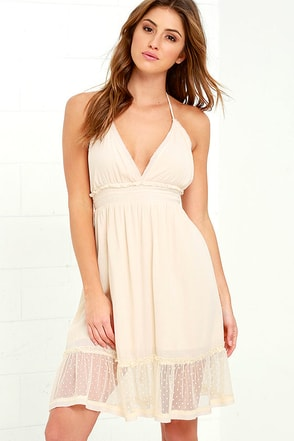 Each and Every Day Cream Lace Halter Dress at Lulus.com!