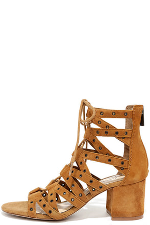 Jessica Simpson Haize Honey Brown Kid Suede Lace-Up Heels at Lulus.com!