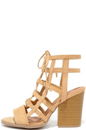 Wine and Design Toffee Beige Suede Lace-Up Heels at Lulus.com!