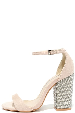 You Can Dance Nude Suede Rhinestone Heels at Lulus.com!