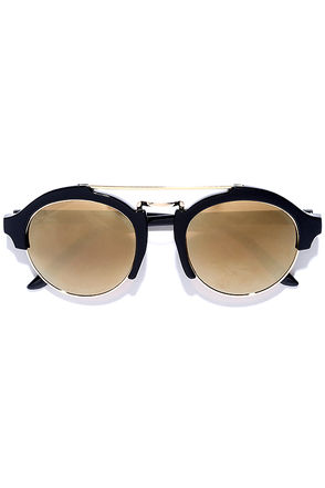 Great Idea Black and Gold Mirrored Sunglasses at Lulus.com!