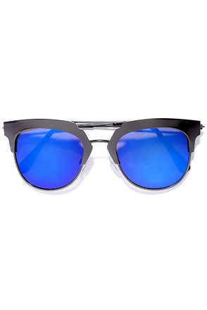 Time Machine Gunmetal and Blue Mirrored Sunglasses at Lulus.com!