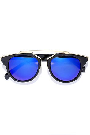 Retro Me, Oh My Black and Blue Mirrored Sunglasses at Lulus.com!