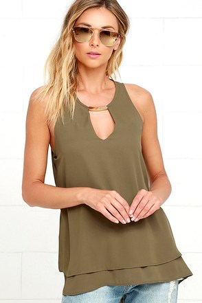 You're in Luxe Olive Green Top at Lulus.com!