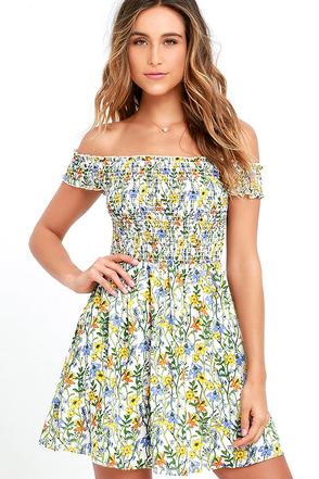Anything Fleur You Ivory Floral Print Off-the-Shoulder Dress at Lulus.com!