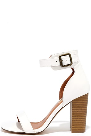 Believe It White Ankle Strap Heels at Lulus.com!