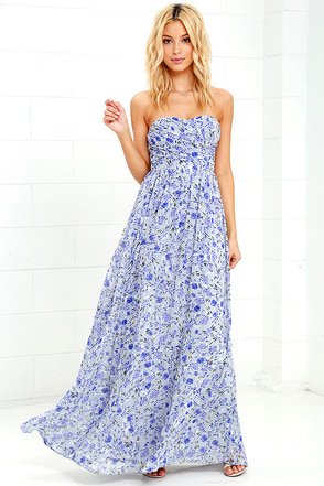 All Afloat Royal Blue Floral Print Strapless Maxi Dress at Lulus.com!