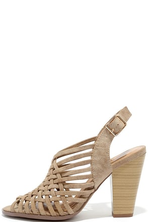 Weave Hello Taupe Distressed High Heel Sandals at Lulus.com!