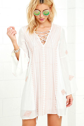 Celebration of Self Ivory Embroidered Lace-Up Shift Dress at Lulus.com!