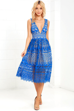 Absolutely Fabulous Beige and Blue Lace Midi Dress at Lulus.com!