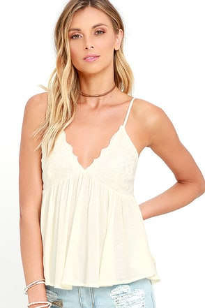 Leaves of Grass Cream Embroidered Top at Lulus.com!
