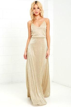Lovely Gold Dress Maxi Dress Metallic Dress 9400