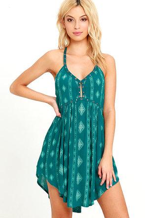 Amuse Society Ashby Teal Blue Print Dress at Lulus.com!