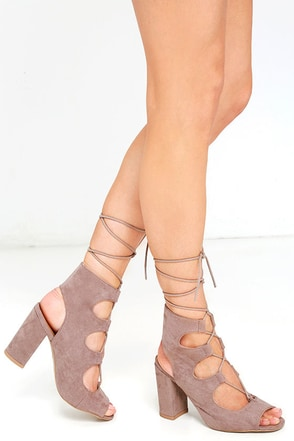 Trek the Town Taupe Suede Lace-Up Booties at Lulus.com!