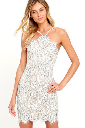 Delicate Darling Beige And Ivory Lace Bodycon Dress 1