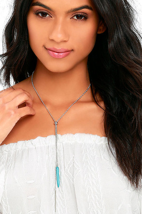 Keep 'Em Coming Turquoise and Silver Lariat Necklace at Lulus.com!
