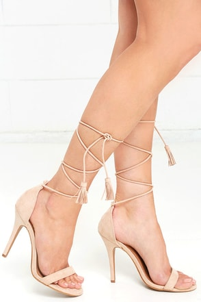 Higher Ground Taupe Suede Lace-Up Heels at Lulus.com!