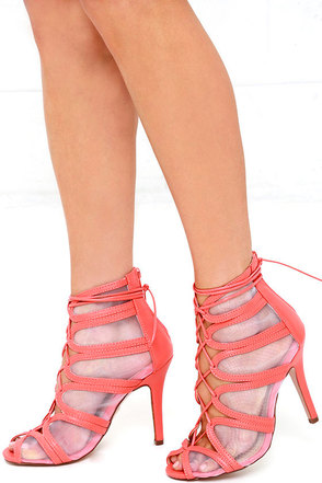 See It Through Coral Mesh Lace-Up Heels at Lulus.com!