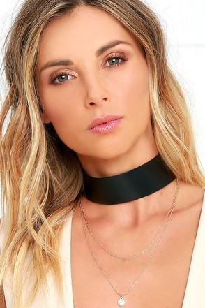 Surprise Party Black and Gold Layered Choker Necklace at Lulus.com!